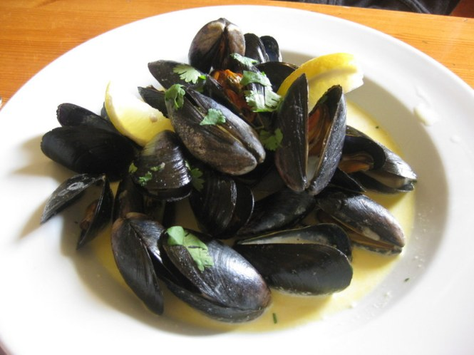 Mussels in white wine sauce. If no one was watching, I'd have licked the plate clean.