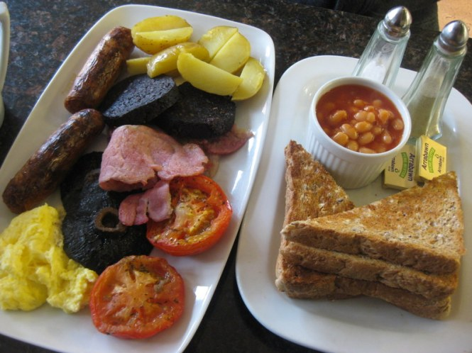 Typical Irish breakfast.  At Mocha Beans, Galway.